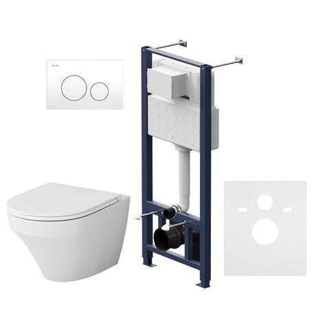Комплект инсталляция с подвесным унитазом, сиденьем и клавишей Pro L AM.PM Inspire IS49001.501700 безободковый